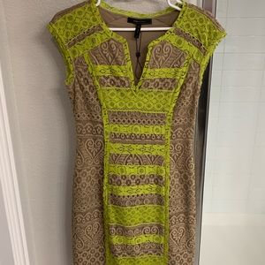 Worn once! BCBG size  2 lime and tan lace dress
